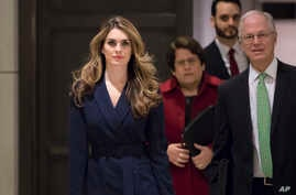 White House Communications Director Hope Hicks, one of President Trump's closest aides and advisers, arrives to meet behind closed doors with the House Intelligence Committee, at the Capitol in Washington, Feb. 27, 2018.
