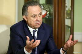 File - Russian Sports Minister Vitaly Mutko gestures during an interview with Reuters in Moscow, March 11, 2016.