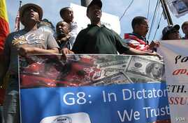 Ethiopian protesters in Thurmont, Maryland, said aid to Ethiopia would not work if their country does not have democracy.