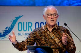 Australia's former Prime Minister Malcolm Turnbull delivers his speech during the Our Ocean Conference in Bali, Indonesia, Oct. 29, 2018.
