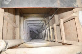 """The exit of the tunnel that according to authorities was used by Mexican drug lord Joaquin """"El Chapo"""" Guzman, to escape from the Altiplano maximum security prison is seen in Almoloya, Mexico, July 14, 2015."""