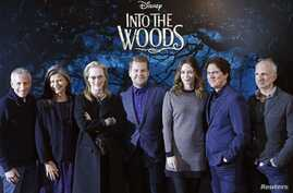 """Cast members and crew pose during a media event for the film """"Into the Woods,"""" in London, Jan. 7, 2015."""