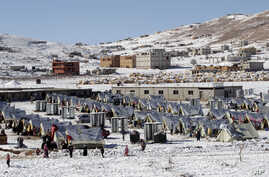 Syrian refugees walk outside their tents at a camp in the eastern Lebanese border town of Arsal, Dec. 15, 2013.