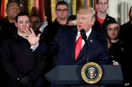President Donald Trump speaks during an event for the Wounded Warrior Project Soldier Ride at the White House, April 26, 2018, in Washington. (