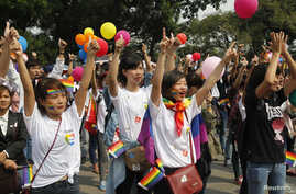 Participants take part in a flash mob during a lesbian, gay, bisexual, and transgender (LGBT) event on a street in Hanoi, Oct. 27, 2013.
