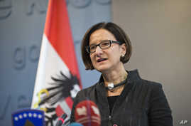 Austrian Interior minister Johanna Mikl-Leitner speaks at a press conference during her visit to Kosovo in the capital Pristina, Feb. 20, 2015.
