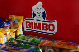 Advertising of Mexican bread maker Grupo Bimbo is seen at a store in Ciudad Juarez, Mexico June 19, 2017.