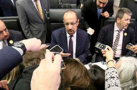 FILE - Khalid al-Falih Minister of Energy, Industry and Mineral Resources of Saudi Arabia speaks prior to the start of a meeting of the Organization of the Petroleum Exporting Countries, OPEC, at their headquarters in Vienna, Austria, Dec. 6, 2018.