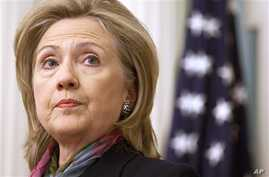 US Secretary of State Hillary Rodham Clinton makes a statement on the Wikileaks document release at the State Department in Washington, 29 Nov 2010