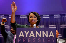 Democratic candidate for U.S. House of Representatives Ayanna Pressley speaks after winning the Democratic primary in Boston, Massachusetts, Sept. 4, 2018.