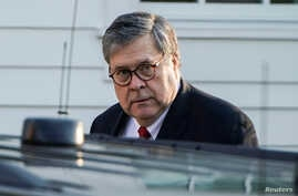 FILE -  Attorney General William Barr leaves his house.