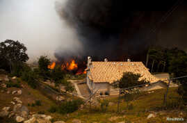 The Cocos Fire rages near homes in San Marcos, California May 15, 2014. Wildfires were raging in southern California on Thursday, keeping thousands of residents and students away from their homes after San Diego county officials maintained evacuation