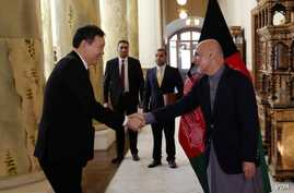 U.N. Security Council delagation meets with Afghanistan President Ashraf Ghani in Kabul, Jan. 15, 2018.
