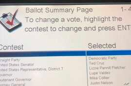 This Oct. 22, 2018, photo shows the ballot summary page of voter Leah McElrath, whoshe voted a straight-Democratic Party ticket, but the voting machine flipped her vote for United States Senator to Republican Ted Cruz.
