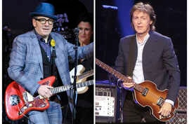 """In this combination photo, musicians Elvis Costello, left, performs at """"The Music of Prince"""" tribute concert, March 7, 2013, in New York and Paul McCartney performs during his """"Out There Tour 2015,"""" June 21, 2015, in Philadelphia."""