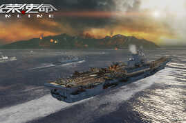 A simulated version of China's first aircraft carrier, the