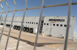 FILE - The Amazon warehouse in San Fernando de Henares is seen during a 3-day walkout to demand better wages and working conditions, on the outskirts of Madrid, Spain, July 17, 2018.