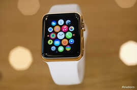 A gold plated Apple Watch is seen at an Apple Store in Berlin, April 10, 2015.