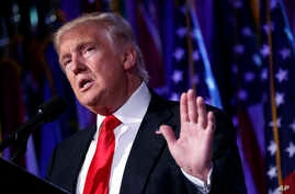 "President-elect Donald Trump speaks during a rally in New York on November 9, 2016. Trump elicited wild cheers on the campaign trail by pledging to ""drain the swamp"" in Washington but the president-elect's transition team is populated largely w..."