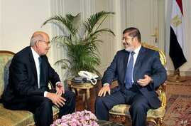 Nobel Peace Prize winner and one of the leaders of the National Salvation Front, Mohamed ElBaradei (L), meets with Egyptian President Mohammed Morsi, in Cairo, Egypt, November 2012.