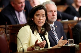 Canadian Justice Minister Jody Wilson-Raybould speaks about the government's medically assisted suicide bill in the Senate chamber on Parliament Hill in Ottawa, Ontario, June 1, 2016.