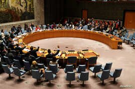 United Nations Security Council members vote on a resolution about Yemen's security at UN Headquarters in the Manhattan borough of New York City, New York, U.S., Dec. 21, 2018.