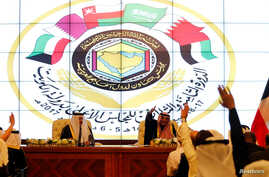FILE - A summit of the Gulf Cooperation Council (GCC) is held in Kuwait City, Kuwait, Dec. 5, 2017. A rift in the GCC is threatening a proposed regional security alliance bringing together the United States, Gulf allies, Egypt and Jordan, according t