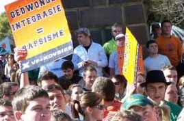 Student protest against forced integration at White Free State University