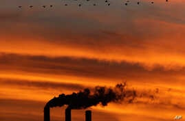 FILE - A flock of Geese fly past the smokestacks at the Jeffrey Energy Center coal power plant as the suns sets near Emmett, Kan.