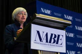 Federal Reserve Chair Janet Yellen speaks at an economics conference, Sept. 26, 2017, in Cleveland, Ohio.