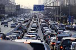 A traffic jam during weekday rush hour in Beijing, China in January 2011.