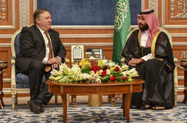 Secretary of State Michael R. Pompeo meets with Saudi Crown Prince Mohammed bin Salman, in Riyadh, Saudi Arabia, Oct. 16, 2018.