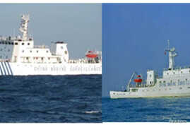 Chinese surveillance ships sailed between a Philippine warship and eight Chinese fishing boats to prevent the arrest of any fishermen in the Scarborough Shoal, April 10, 2012.