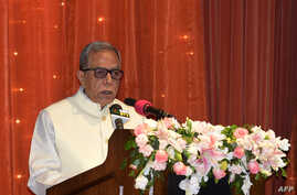 FILE - Bangladesh President Md Abdul Hamid delivers a speech during a visit by Indian Prime Minister Narendra Modi at the presidential residence Bangabhaban in Dhaka on June 7, 2015.
