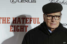 """Composer Ennio Morricone arrives for the screening of the movie """"The Hateful Eight,"""" in Rome, Jan. 28, 2016."""
