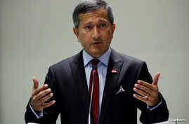 """FILE - Singapore's Foreign Minister Vivian Balakrishnan speaks at the 15th ASEAN Lecture on """"ASEAN: Next 50"""" at the ISEAS Yusof Ishak Institute in Singapore, Dec. 5, 2017."""