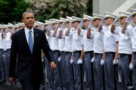 President Barack Obama arrives to deliver the commencement address to the U.S. Military Academy at West Point's Class of 2014, May 28, 2014, in West Point, N.Y.,