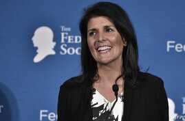 South Carolina Governor Nikki Haley during the 2016 National Lawyers Convention sponsored by the Federalist Society in Washington, D.C., Nov. 18, 2016.