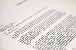 A copy of a letter to President Donald Trump from the law firm of Morgan, Lewis & Bockius LLP, seen in Washington, May 12, 2017.
