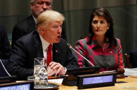 U.S. President Donald Trump speaks as U.N. Ambassador Nikki Haley looks on at the United Nations Global Call to Action on the World Drug Problem during the 73rd U.N. General Assembly in New York, Sept. 24, 2018.