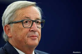 European Commission President Jean-Claude Juncker looks on before addressing the European Parliament during a debate on the state of the European Union in Strasbourg, France, Sept. 13, 2017.