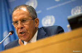 Russian Foreign Minister Sergei Lavrov speaks during a news conference on the sidelines of the the 69th U.N. General Assembly at U.N. Headquarters in New York, Sept. 26, 2014.