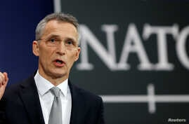 NATO Secretary-General Jens Stoltenberg addresses a news conference during a NATO defence ministers meeting at the Alliance headquarters in Brussels, Belgium, Feb. 15, 2018.