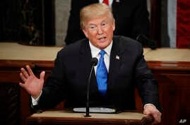 FIlE - In this Jan. 30, 2018 file photo, President Donald Trump delivers his State of the Union address to a joint session of Congress on Capitol Hill in Washington.  It's beginning to look like Congress' election-year battle over immigration could e