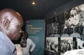 South Sudanese tribal chiefs visit the Genocide Memorial in Kigali during a visit to Rwanda in October 2014.
