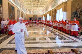 Pope Francis arrives in the Apostolic Palace for a meeting with cardinals to formally set a date for a saint-making Mass, at the Vatican, April 20, 2017.