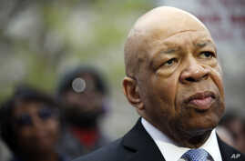 Rep. Elijah Cummings, D-Md., speaks outside Baltimore's City Hall about charges having been filed against six police officers in the death of Freddie Gray, May 1, 2015.