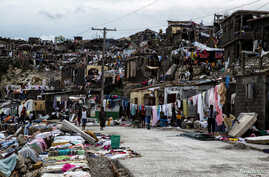 Clean up from Hurricane Matthew continues in Jeremie, Haiti, Oct. 6, 2016.