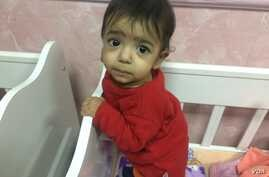 This baby, pictured Dec. 24, 2017, was found with six broken ribs from the battle for Mosul.
