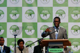 Chief Electoral Officer of Kenya's Independent Electoral and Boundaries Commission (IEBC) Ezra Chiloba speaks during a news conference ahead of the announcement of the winner of polls in Kenya's election at the Bomas of Kenya, in Nairobi, Kenya, Aug.